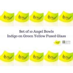 Pack of ten Angel bowls in green and yellow fused glass