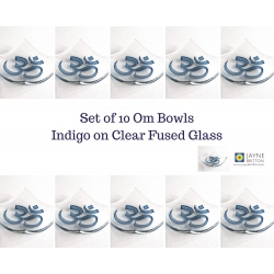 Pack of ten Om bowls in clear glass