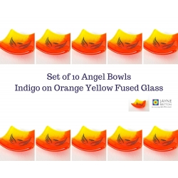 Pack of ten Angel bowls in orange and yellow fused glass
