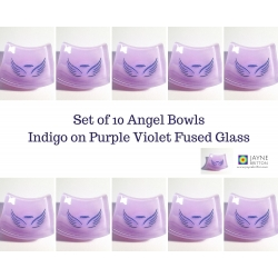 Pack of ten Angel bowls in violet purple blend fused glass