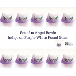Pack of ten Angel bowls in purple and white blend