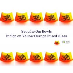 Pack of ten Om bowls in yellow and orange blended fused glass