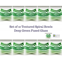 Pack of 10 deep green spiral fused glass tealight bowls