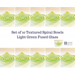 Pack of 10 light green spiral fused glass tealight size bowls