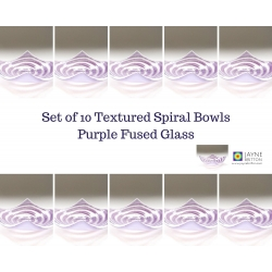 Pack of 10 purple spiral fused glass tealight size bowls