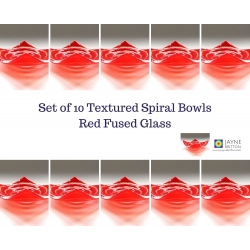 Pack of 10 red spiral fused glass tealight bowls