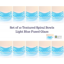 Pack of 10 blue spiral fused glass tealight bowls