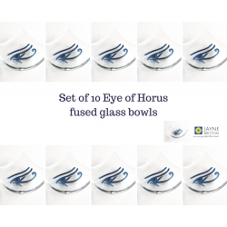 Pack of ten Eye of Horus bowls in clear glass