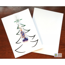 Fused glass, Handmade Christmas card, indigo blue baubles, festive card for mum, special xmas card, blank inside, best friend, family
