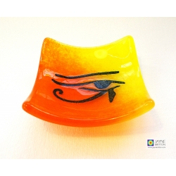 Eye of Horus bowl in yellow orange blended fused glass