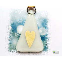 Christmas card, white christmas tree gold heart, Merry Christmas, festive card for mum, special xmas card, blank inside, best friend, family