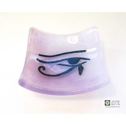 Eye of Horus bowl in violet purple blended fused glass