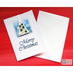 Fused glass Christmas Tree decoration gift card - white tree with green baubles
