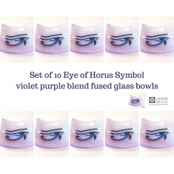 Ten Eye of Horus bowls in violet purple blended fused glass