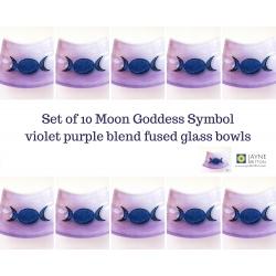 Triple Moon Goddess Bowl - violet purple blend - pack of ten