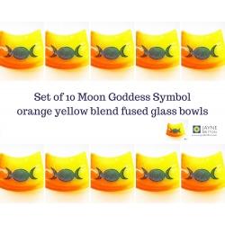 Triple moon goddess bowl - orange yellow blend - pack of ten