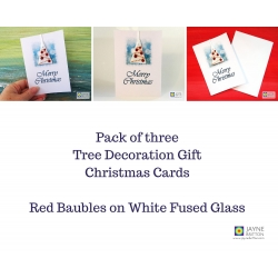 Pack of three fused glass christmas tree decoration gift cards - white tree with red baubles
