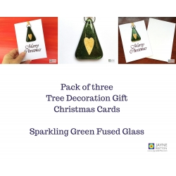 Pack of three Christmas gift cards, Sparkling green Xmas tree with gold heart