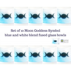 Triple Moon Goddess Bowl - blue and white blend - pack of ten dishes