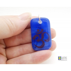 Om pendant on blended indigo blue fused glass - throat, third eye chakra