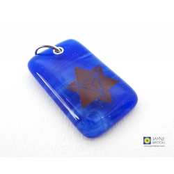 Merkaba pendant on deep blue fused glass