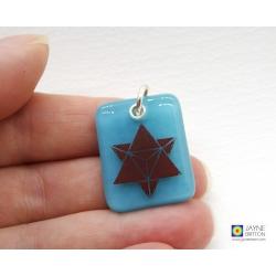 Merkaba pendant on turquoise blue fused glass