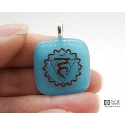 Throat chakra symbol pendant - turquoise blue glass - vishuddha
