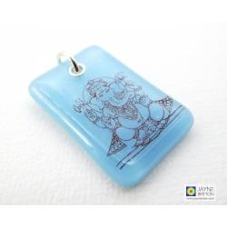 Ganesh pendant - light blue drilled