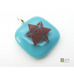 Merkaba pendant on turquoise blue fused glass - square