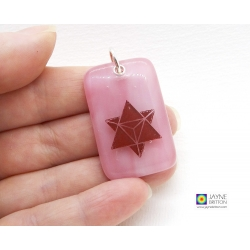 Merkaba pendant - blended pink fused glass