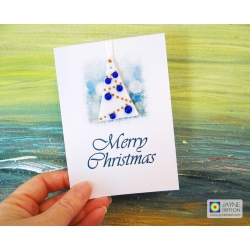 Fused glass Christmas Tree decoration gift card - white tree with indigo blue baubles