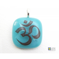 Om pendant on Turquoise blue fused glass - square