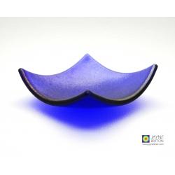 Iridescent blue fused glass bowl - tealight holder, ring dish