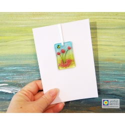 Fused glass greeting card - pink flowers - blank inside