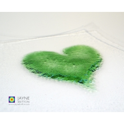 Green heart plate, fused glass plate with raised textured green heart