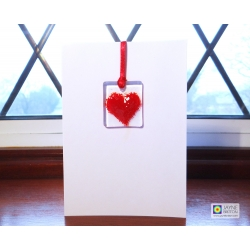 Fused glass greeting card, red heart light catcher, keepsake, Thank you card, birthday, mothers day, valentines day, sympathy, blank inside