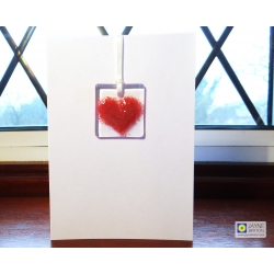 Fused glass greeting card - pink heart light catcher - blank inside