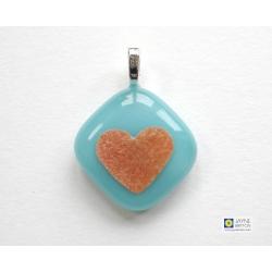 Gold heart pendant - turquoise blue fused glass - handmade jewellery