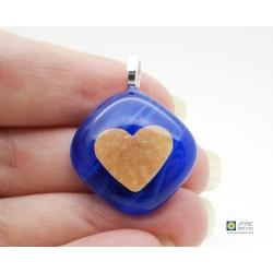 Gold heart pendant - handmade indigo blue fused glass