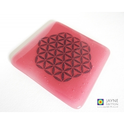Flower of Life coaster - magenta pink - sacred geometry