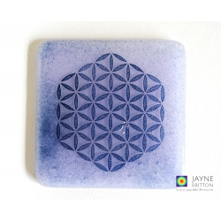 Handmade Flower of Life coaster - violet purple fused glass