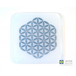 Handmade Flower of Life coaster - blue and white fused glass