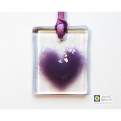 Fused glass greeting card - purple heart light catcher - blank inside