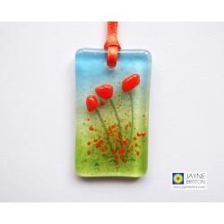 Fused glass greeting card - orange flowers - blank inside