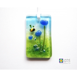 Fused glass greeting card - blue flowers with bee light catcher