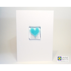 Fused glass greeting card - turquoise blue heart - card to frame