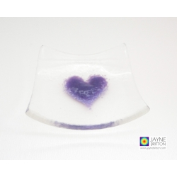 Handmade fused glass, purple heart trinket bowl