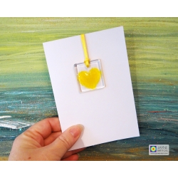 Greeting card with gift - yellow heart light catcher