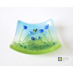 Blue flower ring dish, trinket dish, cottage garden design