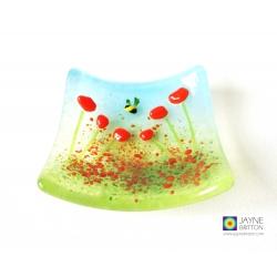 Orange flower bowl - cottage garden design - handmade textured fused glass